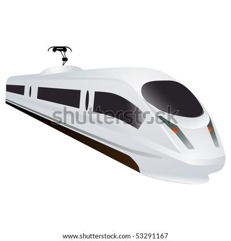 White super high speed train - stock vector