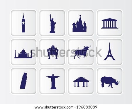 white symbols of famous tourist statues and buildings from around the world - stock vector
