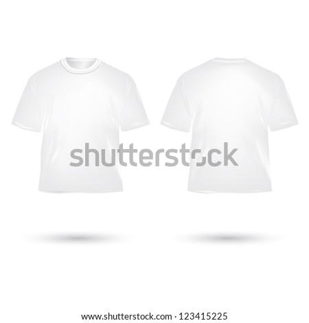 white T shirt on white background - stock vector