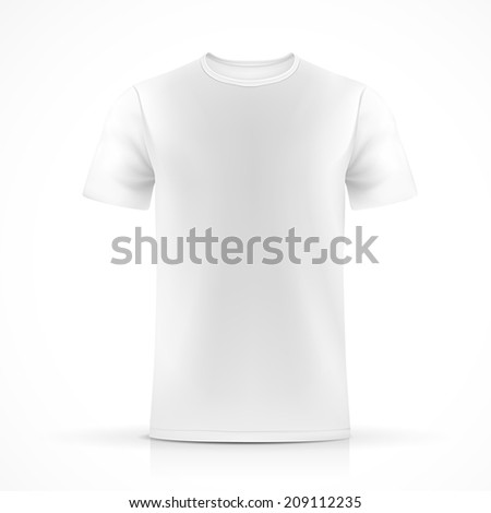 white T-shirt template  isolated on white background - stock vector