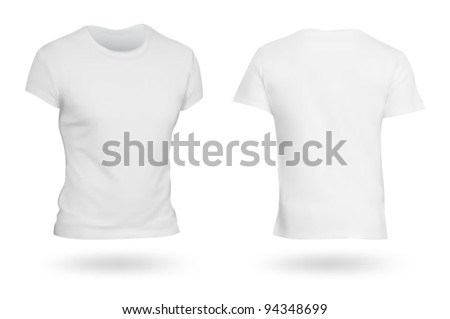 White T-shirt template. Photo-realistic mesh design. - stock vector