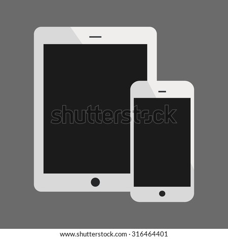 White Tablet Computer and Phone Vector Illustration - stock vector