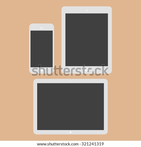White Tablet Computers and Phone Vector Illustration. - stock vector