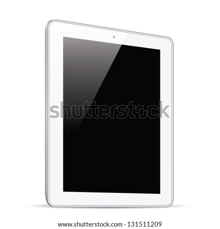White tablet isolation side view vector eps10 - stock vector