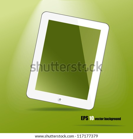 White tablet pc, like ipade on green background, vector eps 10. - stock vector