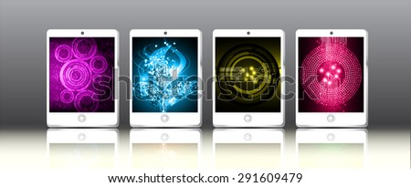 white Tablet pc on graphics digital screen. Technology background for computer graphic website internet and business. infographics. ipad. circuit. many, various, Multiplicity - stock vector