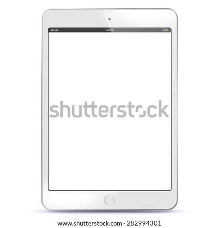 White Tablet PC Vector illustration with blank screen.  - stock vector