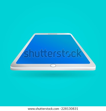 White tablet with empty screen isolated on blue background. Perspective view. Vector illustration EPS10 - stock vector