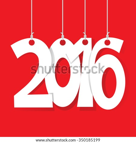 White tags with 2016 on red background
