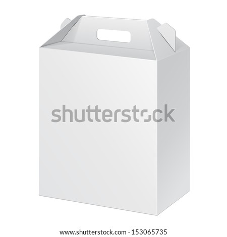 White Tall Cardboard Carry Box Packaging For Food, Gift Or Other Products. On White Background Isolated. Ready For Your Design. Product Packing Vector EPS10  - stock vector