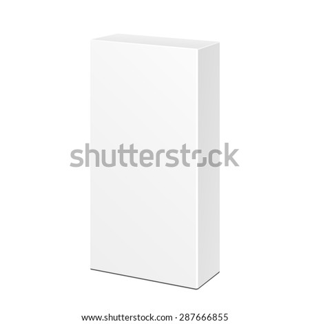 White Tall Long Product Cardboard Package Box. Illustration Isolated On White Background. Mock Up Template Ready For Your Design. Vector EPS10 - stock vector