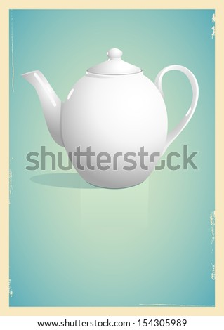 White teapot on blue background. Illustration in retro style - stock vector