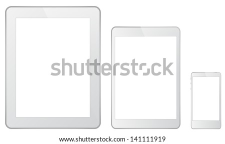 White Technology Gadgets In iPad Style - stock vector