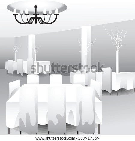 White template of celebration hall for event designers or wedding planners. Grouped, layered file. Add your colors and decorations to impress your client! - stock vector