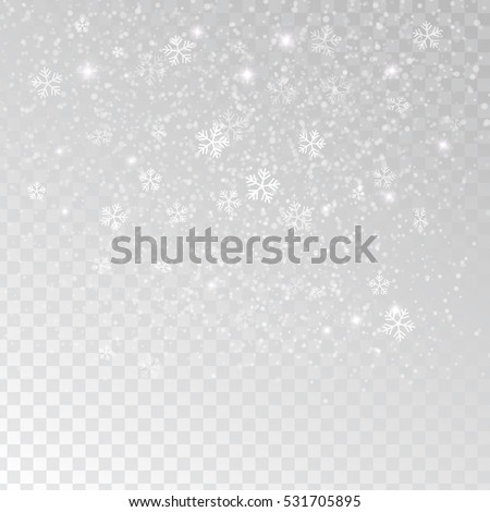 White tender snowflakes, snow falling over transparent background, vector illustration.