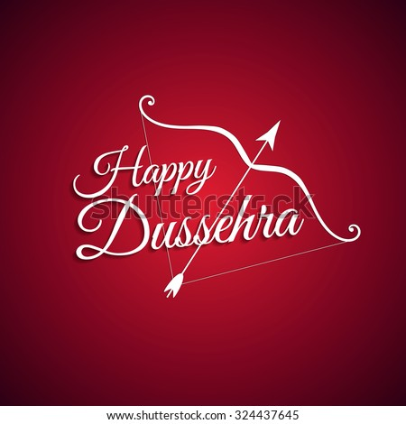 White text calligraphic inscription Happy Dussehra festival Indian with bow and arrow with a shadow on a red background. Vector illustration - stock vector