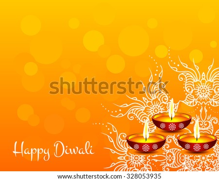 White text calligraphy inscription Happy Diwali festival India with lamp oil balls on orange background. Vector illustration EPS 10 - stock vector