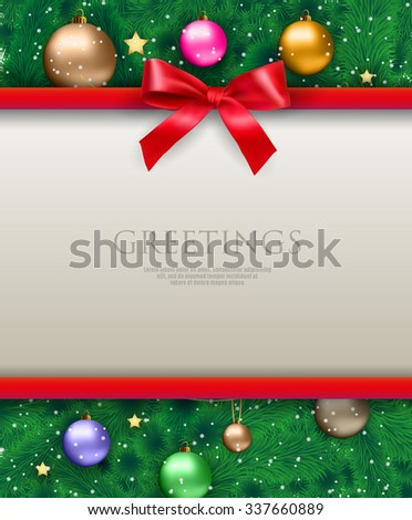 White text place with red ribbons and bow at background with christmas tree with color glass balls, chains and gold stars. template for greetings christmas new year card. vector illustration - stock vector