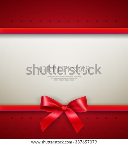 White text place with red ribbons and bow at red background with dots and stars. template for greetings christmas new year card. vector illustration - stock vector