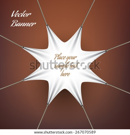 White textile banner tensioned cables,eps 10 - stock vector