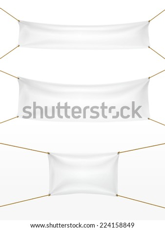 white textile banners set isolated on white - stock vector