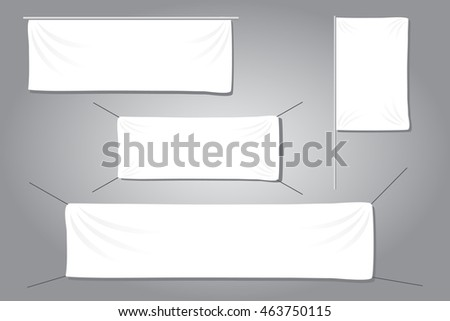 White textile banners with folds template eps10