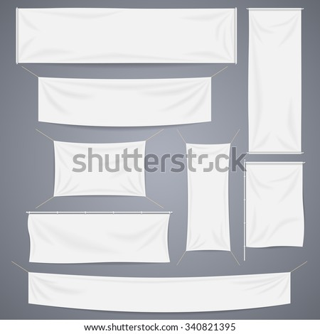 White textile banners with folds template set. Separate shadow. Cotton and canvas, flag blank, advertising empty, vector illustration - stock vector