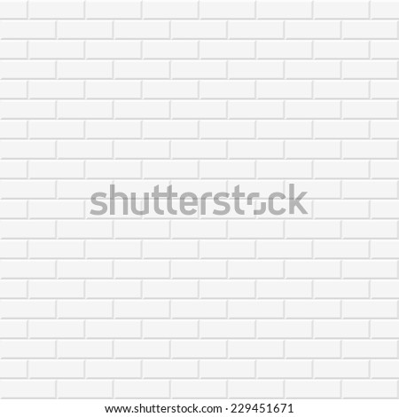 White texture, seamless brick wall - stock vector