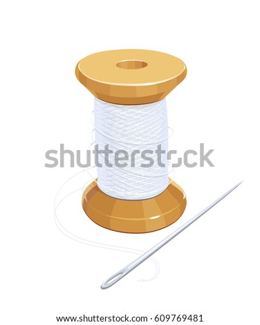 White Thread Reel Needle Cotton Needlework Stock Vector 609769481 ...