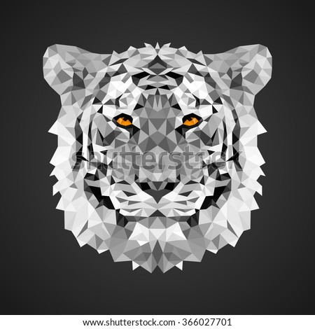 White tiger portrait. Low poly design. Abstract polygonal illustration. - stock vector