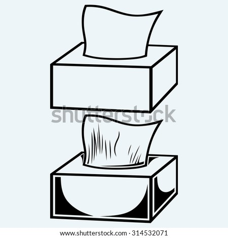 White tissue box. Isolated on blue background - stock vector