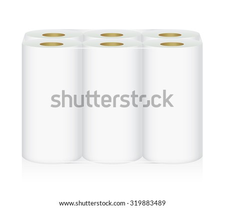 White Tissue Paper includes 6 roll in pack blank label and no text for mock up packaging - stock vector