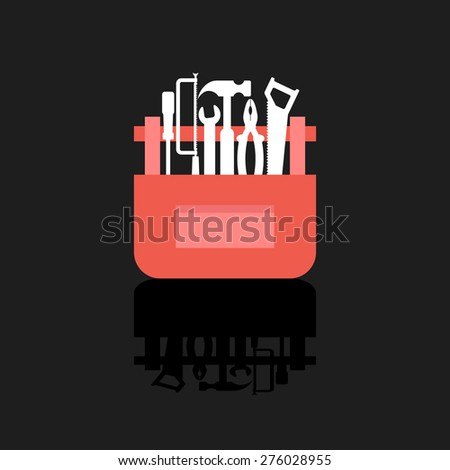 white tools in red box with shadow. concept of mechanic, building, overhaul, engineer, employment, carpenter, civil engineering work. flat style trendy modern design vector illustration - stock vector