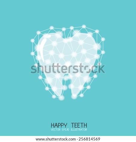 White tooth surrounded by beams. Taking care of teeth concept. Vector. - stock vector