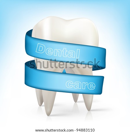 white tooth with a blue ribbon.vector - stock vector