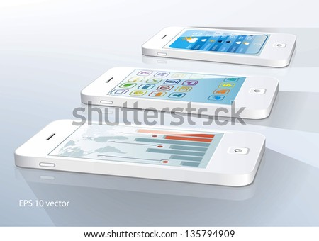 White touchscreen smartphones with applications on screens. Vector illustration - stock vector