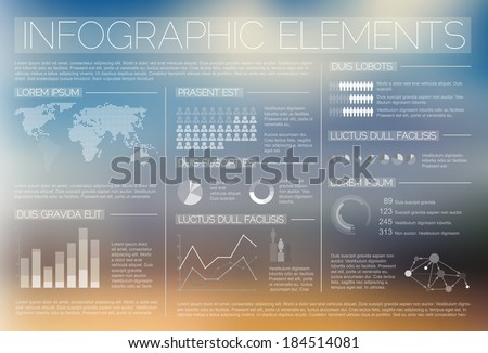 White transparent Vector set of Infographic elements for your documents and reports - stock vector