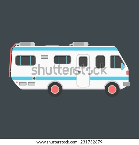 white travel camper van isolated on dark background. concept of outdoor recreation and travel around the world. flat style design trendy modern vector illustration - stock vector