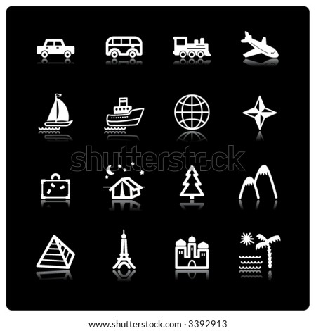 white travel icons