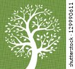 White Tree icon on Green Canvas texture, vector illustration   - stock vector