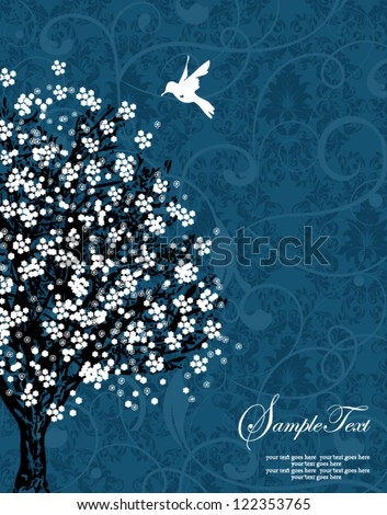white tree silhouette on blue damask background - stock vector