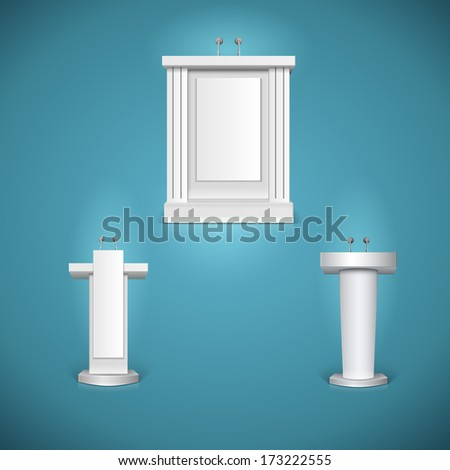 White tribunes with microphone, rostrums. Vector illustration - stock vector