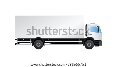 White truck side view on white background, vector eps10 illustration