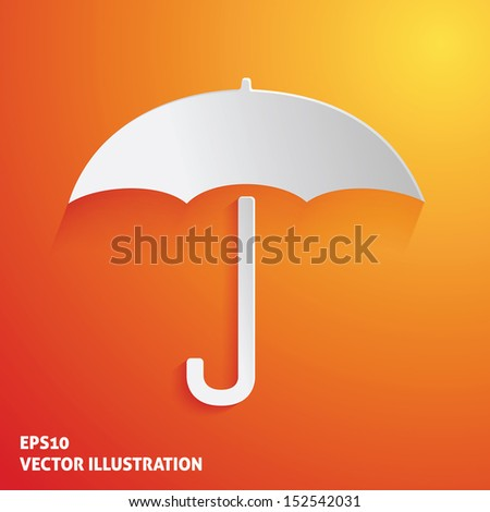 White umbrella icon on orange background. Vector illustration - stock vector