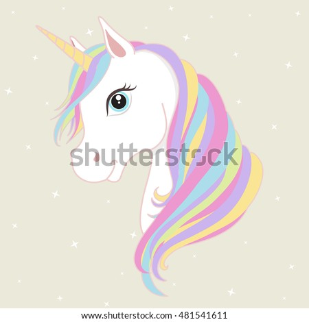 white unicorn vector head mane horn stock vector royalty free