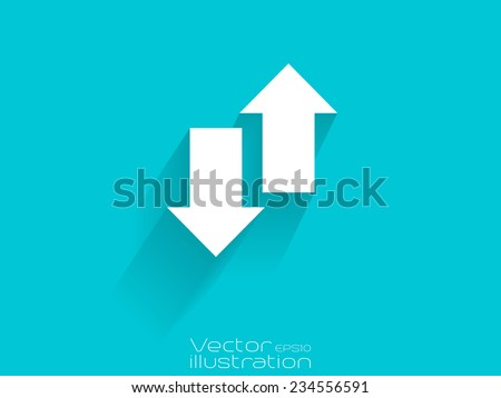 White up and down arrow icon on blue background - stock vector
