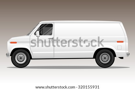 White van with blank space for text or logo. Detailed vector illustration. - stock vector