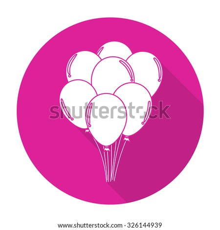 White vector balloon on color circle background. - stock vector