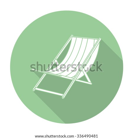 White vector beach bed on color circle background. - stock vector