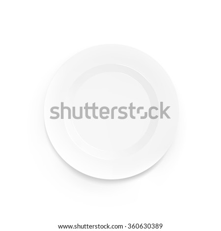 White vector blank plate mock up isolated. Empty dish mockup design. Clear tableware ready for pattern, logo, art or ornament presentation. Decorative rarity dishes template. Plate frame layout. - stock vector